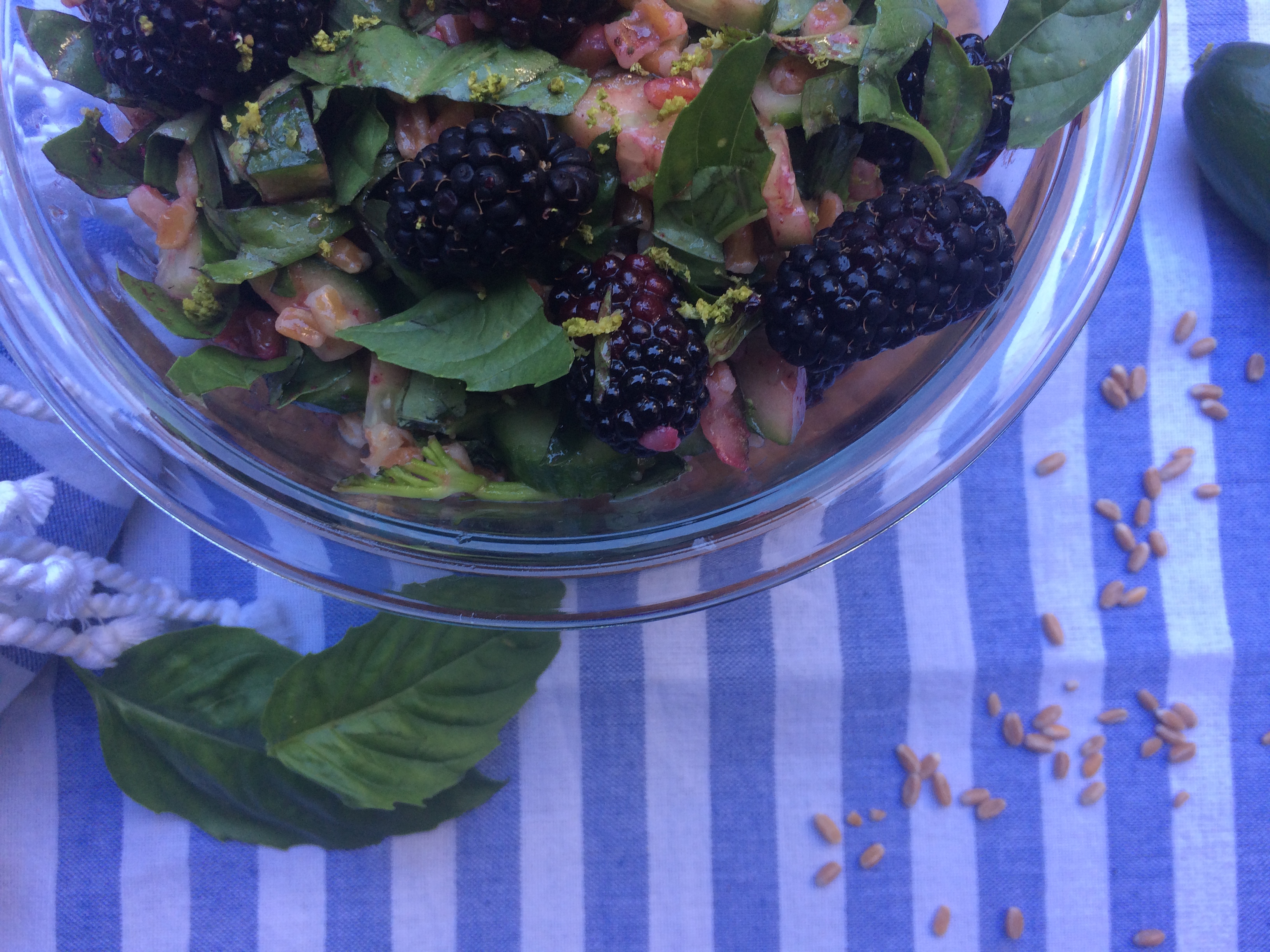 farro salad with blackberries, basil and lime dressing